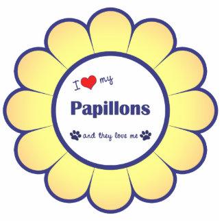 私は愛します私のPapillons (多数犬)を 写真彫刻オーナメント