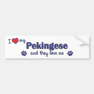 私は愛します私のPekingese (多数犬)を バンパーステッカー