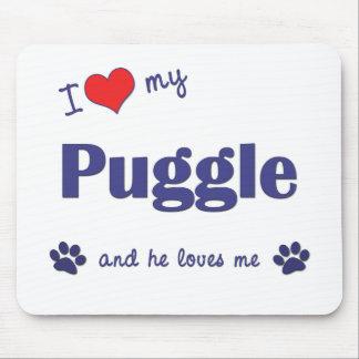 私は愛します私のPuggle (オス犬)を マウスパッド