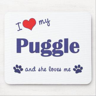 私は愛します私のPuggle (メス犬)を マウスパッド