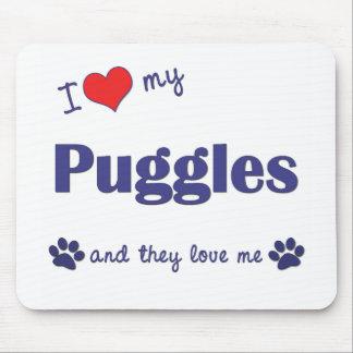 私は愛します私のPuggles (多数犬)を マウスパッド