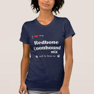 私は愛します私のRedboneのCoonhoundの組合せ(オス犬)を Tシャツ