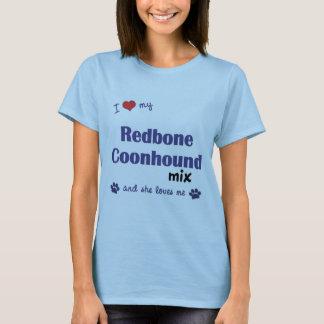 私は愛します私のRedboneのCoonhoundの組合せ(メス犬)を Tシャツ