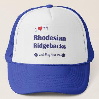 私は愛します私のRhodesian Ridgebacks (多数犬)を キャップ