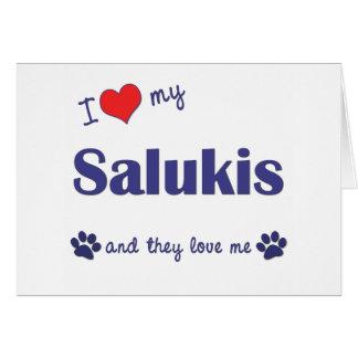 私は愛します私のSalukis (多数犬)を カード
