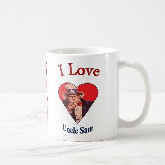 """""""私は愛します米国政府および旗""""を コーヒーマグカップ"""