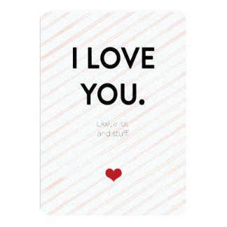 私は愛します。 たくさんのようにおよび物。 ピンクの細い縦縞 カード
