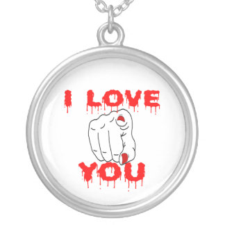 私は愛します シルバープレートネックレス