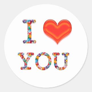 私は愛します: 愛nロマンスのギフトのエレガントな原稿 ラウンドシール
