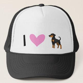 私は愛します(犬)ドーベルマン・ピンシェル(だらしない耳)を キャップ