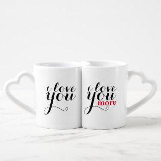 """""""私は愛します。 私はもっと愛します""""。 ジャンボマグ ペアカップ"""