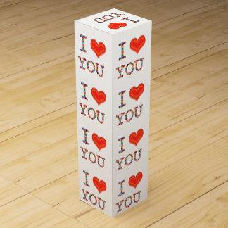 私は愛します: 赤い愛原稿の引用文のおもしろいのワイン用化粧箱 ワイン ギフト包装