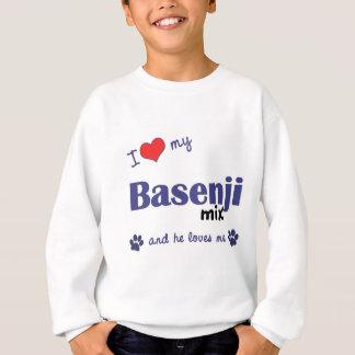 私は愛しますBasenjiの私の組合せ(オス犬)を スウェットシャツ