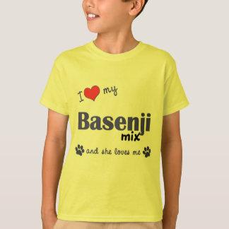 私は愛しますBasenjiの私の組合せ(メス犬)を Tシャツ