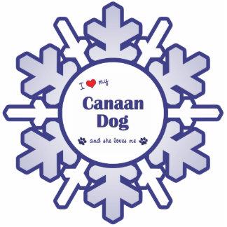 私は愛しますCanaan私の犬(メス犬)を 写真彫刻オーナメント