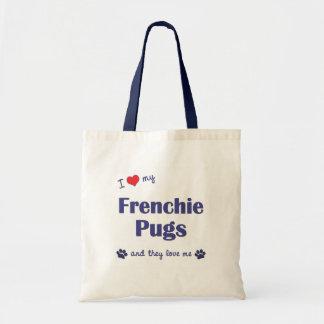 私は愛しますFrenchieの私のパグ(多数犬)を トートバッグ