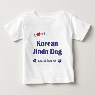 私は愛しますJindo私の韓国の犬(オス犬)を ベビーTシャツ
