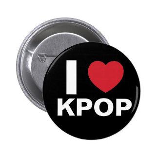 私は愛しますKpopボタン(黒)を 5.7cm 丸型バッジ