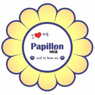 私は愛しますPapillonの私の組合せ(オス犬)を 写真彫刻オーナメント
