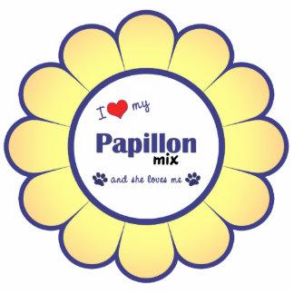 私は愛しますPapillonの私の組合せ(メス犬)を 写真彫刻オーナメント