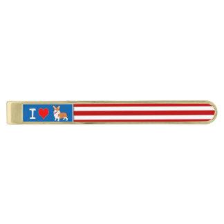 私は愛国心が強いコーギーを愛します ゴールドネクタイピン