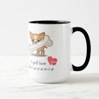 私は愛C-h-i-w-e-e-n-i-eのマグを綴ります マグカップ