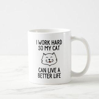 私は懸命を働かせます従って私の猫は住むことができますよりよい生命 コーヒーマグカップ