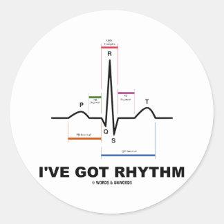 私は持っています|得られる|リズム|(ECG|-|EKG|ハート|ビート) 丸形シールステッカー