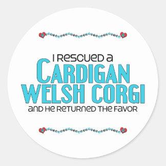 私は救助しましたカーディガンのウェルシュコーギー(オス犬)を 丸形シール・ステッカー