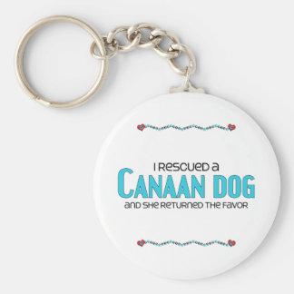 私は救助しましたCanaan犬(メス犬)を ベーシック丸型缶キーホルダー