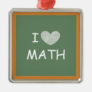 私は数学を愛します シルバーカラー正方形オーナメント
