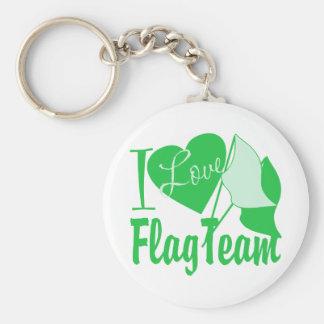 私は旗のチーム緑を愛します キーホルダー