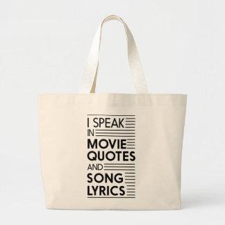 私は映画引用文および歌の叙情詩で話します ラージトートバッグ