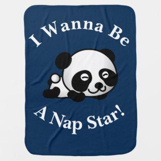 私は昼寝の星のSleepytimeのパンダくまのデザインでありたいと思います ベビー ブランケット