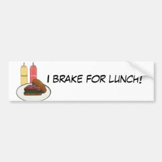 私は昼食のバンパーステッカーのためにブレーキがかかります バンパーステッカー