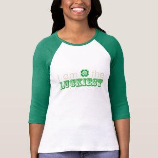 """""""私は最も幸運な""""女性の3/4枚の袖のTシャツです Tシャツ"""