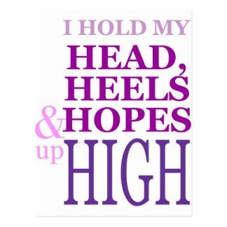 私は最高の上の私の頭部、かかと及び希望を保持します ポストカード