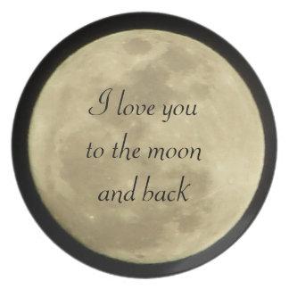 私は月および後ろ板に愛します プレート