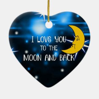 私は月および背部に愛します--カスタム設計して下さい セラミックオーナメント