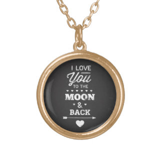 私は月および背部に愛します ゴールドプレートネックレス