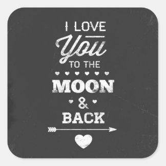 私は月および背部に愛します スクエアシール