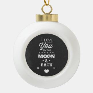 私は月および背部に愛します セラミックボールオーナメント
