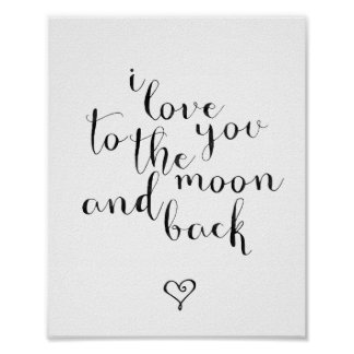 私は月および背部に愛します ポスター
