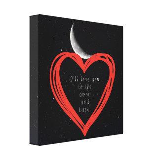 私は月および背部キャンバスのプリントに愛します キャンバスプリント