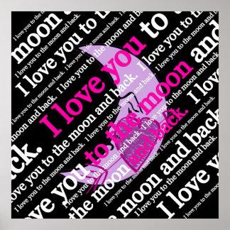 私は月および背部タイポグラフィに愛します ポスター