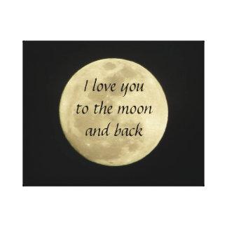 私は月および背部バックラムに愛します キャンバスプリント