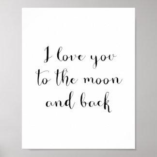 私は月および背部ポスターに愛します ポスター