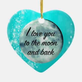 私は月および背部引用文の発言に愛します セラミックオーナメント