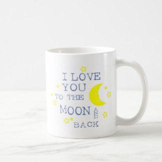 私は月および背部引用文-青に愛します コーヒーマグカップ