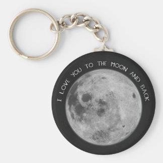 私は月および背部星明かりの空に愛します キーホルダー